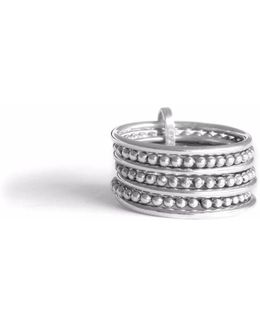 Silver Seven-bands Ring Line & Pearls