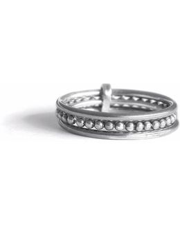 Silver Three-bands Ring Line & Pearls