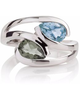 Green Amethyst & Blue Topaz Love Birds Ring