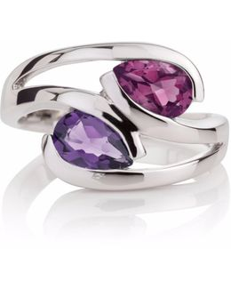 Amethyst & Rhodolite Love Birds Ring