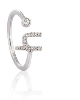 Silver Initial H Ring
