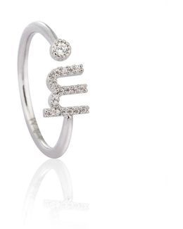Silver Initial M Ring