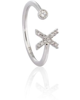 Silver Initial X Ring