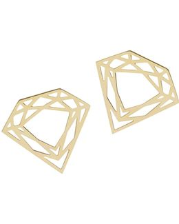 Gold Classic Diamond Stud Earrings