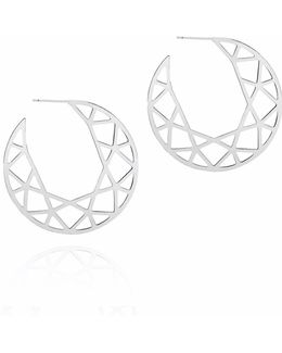 Silver Brilliant Diamond Hoop Earrings