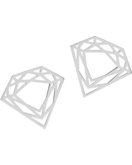 Silver Classic Diamond Stud Earrings