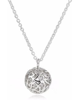 Svar Silver Sphere Necklace Clear Cz
