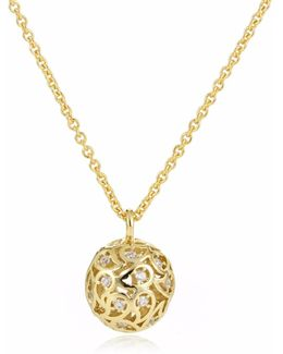 Svar Gold Sphere Necklace Clear Cz