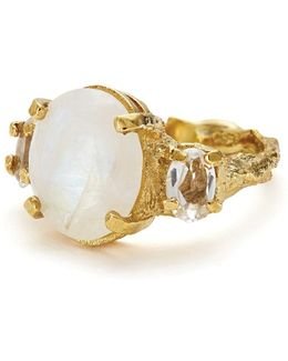 Dew Drop In The Wild Ring In Moonstone & Crystal Quartz Gold