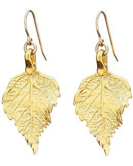 Tiny Raspberry Leaf Earrings Gold