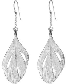 I Can Fly Swan Feather Maxi Earrings In Silver