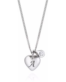 Heart Initial & Diamond Necklace Silver