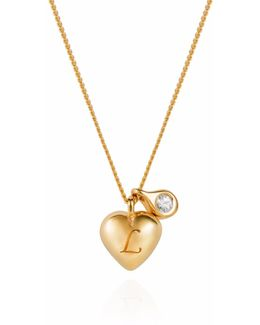 Heart Initial & Diamond Pendant Necklace Gold