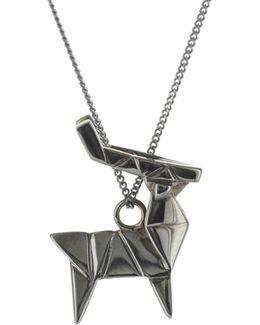 Deer Necklace Gun Metal
