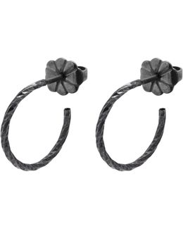 Black Mini Diamond Hoop Earrings