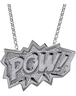 Pow Pendant Extra Large Long In Silver