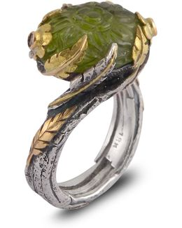 Peacock Peridot Diamond & Blue Sapphire Ring
