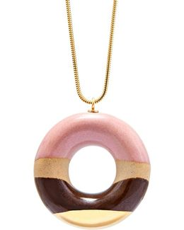 Vanilla Doughnut With Strawberry Coffee & Gold Glaze