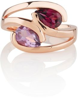 Amethyst & Rhodolite Love Birds Ring Rose Gold