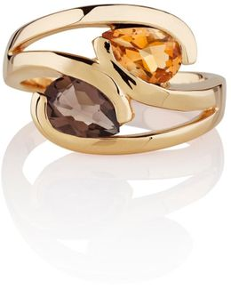 Citrine & Smoky Quartz Love Bird Ring Gold