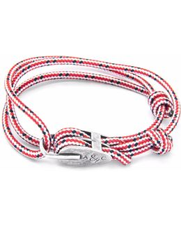 Red Dash Tyne Silver & Rope Bracelet