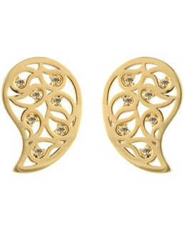 Reya Gold Paisley Earrings Yellow Cz