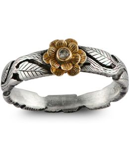 Double Daisy Diamond Flower Ring