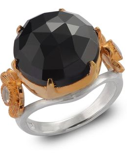 Opium Black Spinel & Moonstone Ring