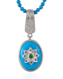 Byzantine Star Turquoise Diamond And Tsavorite Pendant