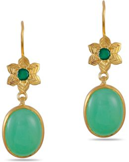 Byzantine Star Chrysoprase Earrings