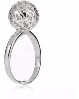 Svar Silver Sphere Ring Clear Cz