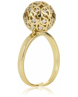 Svar Gold Sphere Ring With Clear Cz