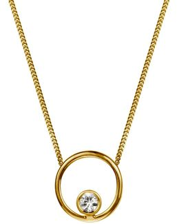 Halo Necklace White Sapphire & Gold Vermeil