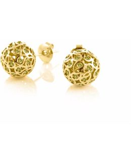 Svar Gold Sphere Earrings Yellow Cz