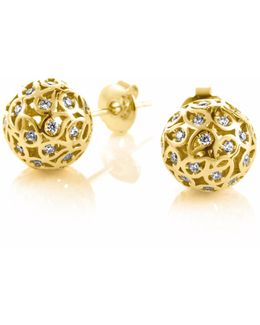 Svar Gold Sphere Earrings Clear Cz