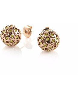 Svar Rose Gold Sphere Earrings Yellow Cz