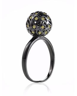 Svar Ruthenium Sphere Ring Yellow Cz