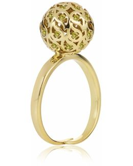 Svar Gold Sphere Ring Yellow Cz