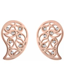 Reya Rose Gold Paisley Earrings Clear Cz