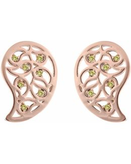 Reya Rose Gold Paisley Earrings Yellow Cz