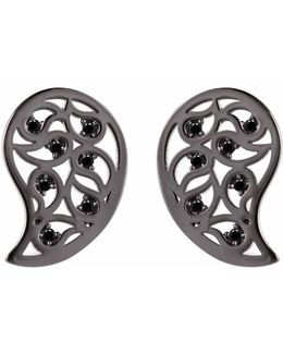 Reya Ruthenium Paisley Earrings Spinel