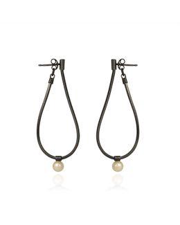 Orbit Loop Drop Earrings Oxidised Silver