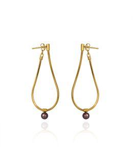 Orbit Loop Drop Earrings Gold