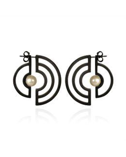 Orbit Solaris Earrings Oxidised Silver