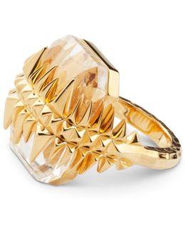 Black Sea Glacier Ring Gold White Topaz