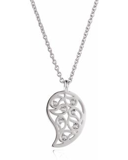 Reya Silver Paisley Necklace Clear Cz