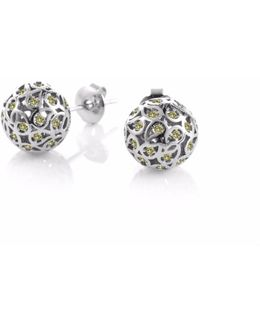 Svar Silver Stud Earrings Yellow Cz