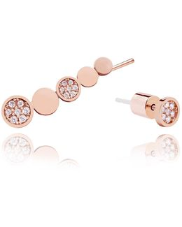 Black Magic Circle Earrings In Rose Gold