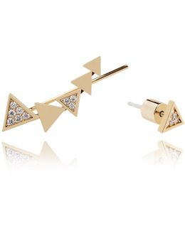 Black Magic Triangle Earrings In Gold