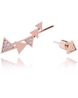 Black Magic Triangle Earrings In Rose Gold